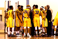 Los Angeles Trade Tech College Men's Basketball team huddle